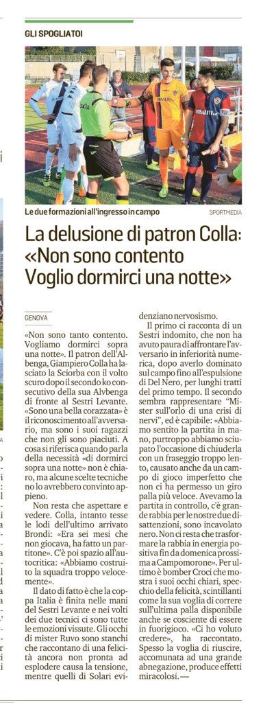 """Le Interviste post """"Finale"""", sul Secolo XIX di Savona"""