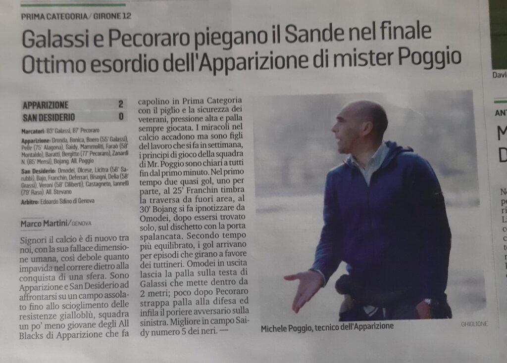 Secolo XIX, 14/09/2020 Coppa Liguria