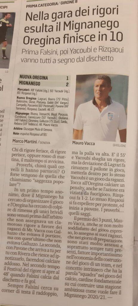 Secolo XIX, coppa Liguria, 20 09 2020