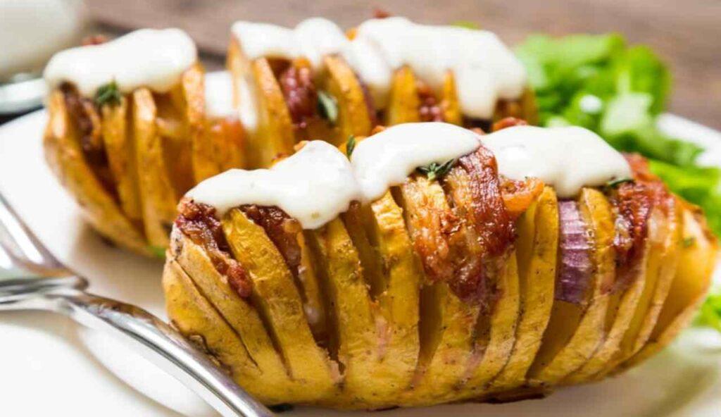 Patate al cartoccio, prosciutto e gorgonzola